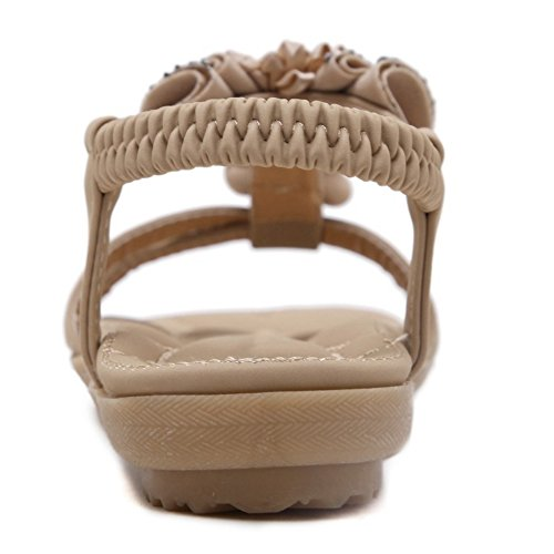 TAOFFEN Damen Mode-Event Open Toe Slingbacks Sandalen Maedchen Schule Elastic Lace Schuhe with Blume Aprikose