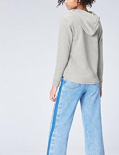 FIND Hoodie Damen mit ausgerolltem Saum und Rippenbündchen Grau (Grey), 38 (Herstellergröße: Medium) - 3