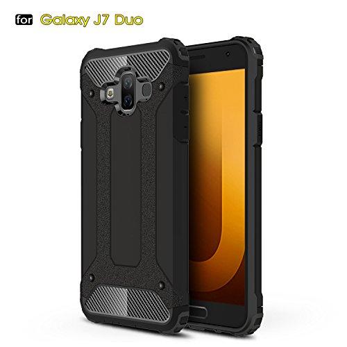 Aidinar Funda Samsung Galaxy J7 Duo, Funda Protectora Resistente a Prueba de Golpes Doble, PC Desmontable + TPU de Doble Capa Cubierta Protectora para Samsung Galaxy J7 Duo (Negro)