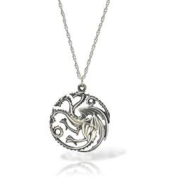 Juego de Tronos Targaryen - Collar con colgante de plata de dragón
