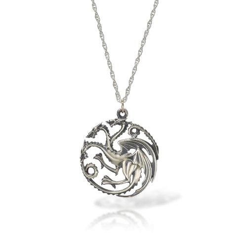 Juego-de-Tronos-Targaryen-collar-con-colgante-de-plata-de-dragn