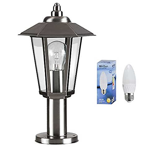 Contemporary Victorian Style Silver Stainless Steel Outdoor Garden Lamp Post Top Lantern Light - IP44 Rated - Complete With 1 x 4w LED Bulb