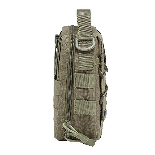 Wingogo EDC Marsupio Tattico Medico Kit 1000D Compatto MOLLE Primo Soccorso Sacchetto Di Utilità Per Camping Escursioni (Nero) Oliva