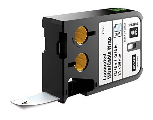 DYMO XTL Laminierte Kabeletiketten, Vinyl, selbstlaminierend (21 mm x 39 mm) - Schwarz auf Weiß Cat5-komponente