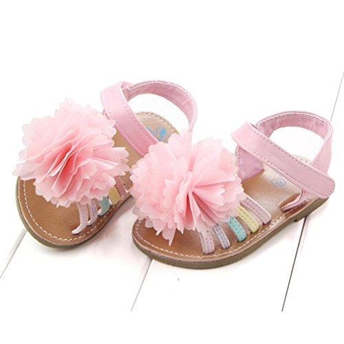 Babyschuhe Longra Baby Mädchen Sandalen Kleinkind Prinzessin erste Wanderer Blumenmädchen Kind Sommer Schuhe lauflernschuhe krabbelschuhe(0-18Monate) Pink