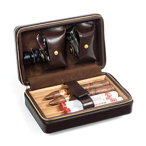 Zigarren Humidor Zigarrenluftbefeuchter Zigarrenholz Humidor Zedernholz Innenstadt Premium Leder mit Zigarrenschnitt Zigarette, 4 Zigarren Reise Tragbare Kubanische Massivholzkiste, Geschenkbox Der Mä