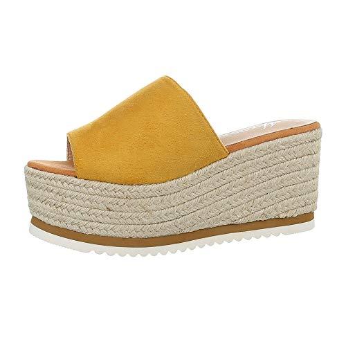 Ital-Design Damenschuhe Sandalen & Sandaletten Pantoletten Synthetik Gelb Gr. 37 (Kostüm Schrank)