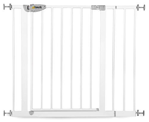 Hauck Squeeze Treppen- / Türschutzgitter für Kinder, für Hunde und Katzen, Befestigung ohne Bohren, zum Klemmen, mit Tür, 75-95 cm, 14 cm Verlängerung, grau (silber)