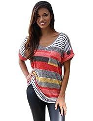 Susenstone Moda mujer verano manga corta superior suelta blusa señoras Tops Casual camiseta (XL)