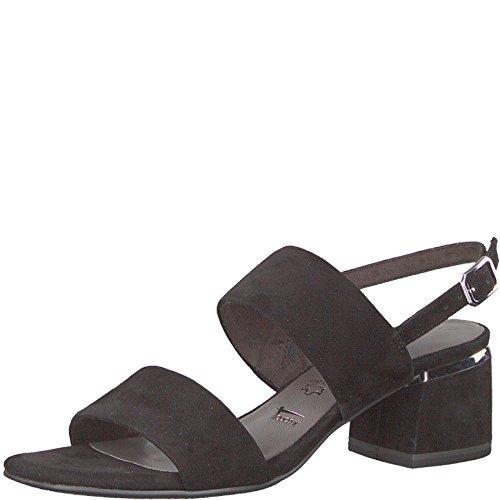 Tamaris 1-1-28026-30 Damen Sandale, Sandalette, Sommerschuhe für die modebewusste Frau schwarz (Black), EU 38