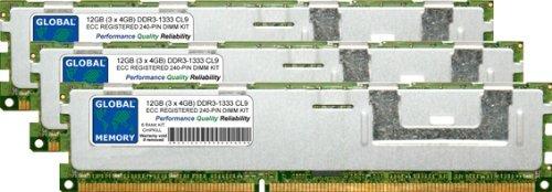 Ecc-dimm-speicher-kit (GLOBAL MEMORY 12GB (3x 4GB) DDR31333MHz PC3-10600240-PIN ECC Registered DIMM (RDIMM), Speicher RAM KIT für Servers/WORKSTATIONS/MAINBOARDS (6RANK KIT CHIPKILL,))