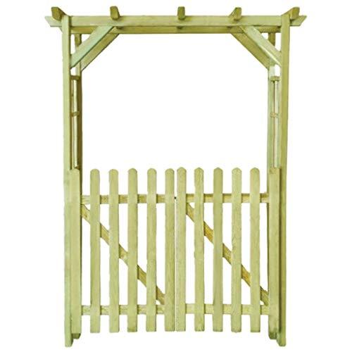 mewmewcat Pergolato da Giardino, Pergola Arco Legno,Pergolato Arco da Giardino Esterno con Cancello per Rampicanti in Legno 150x50x200 cm