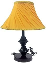 RDC Black Double Ring Stand Table Lamp with 10 Round Slanting Pleated Yellow with Lace Border Lamp Shade