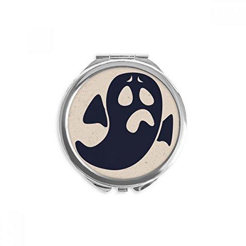 DIYthinker Fantasma de Halloween Preocupado Emoji espejo redondo portable de la mano del bolsillo del maquillaje