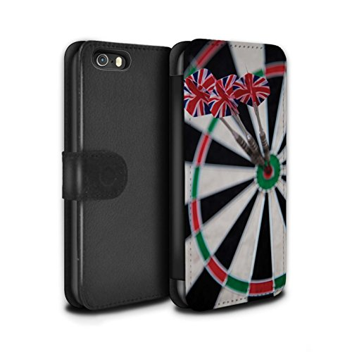 Stuff4 Coque/Etui/Housse Cuir PU Case/Cover pour Apple iPhone 5/5S / Tripler bullseye Design / Fléchettes Photo Collection Tripler bullseye