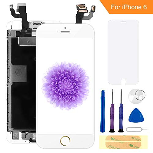 FLYLINKTECH Für iPhone 6 Display Weiß, Ersatz Für LCD Touchscreen Digitizer vormontiert mit Home Button, Hörmuschel, Frontkamera Reparaturset Komplett Ersatz Bildschirm mit Werkzeuge (Digitizer 6 Iphone Ersatz)