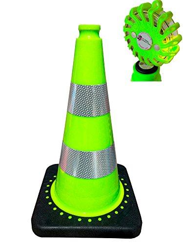 ES-Team Leitkegel -Pylone grün inkl. UvV-PowerLED Flare Warnleuchten grüne LED (Reflexfolie Silber RA2C)