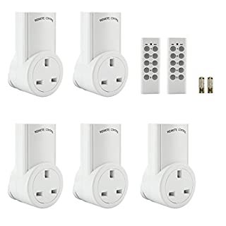 Wireless Remote Control Sockets, Discoball Convenient Home Programmable Electrical Plug Outlet Switch, Lights, Household Appliances, up to 30m/100ft Operating Range, White, 5 Pack