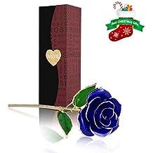 Rosa 24K chapado, U-KISS Rosa en Oro Chaapado con Caja de regalo, Mejor Regalo para el Día de Tarjeta, Día de San Valentín,, Día de madre, Aniversario, Regalo de Cumpleaños, Regalo para el Amante ,la Novia y la madre (AZUL)