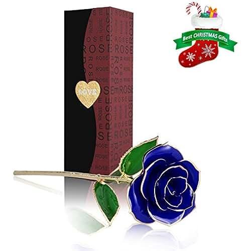 ofertas para el dia de la madre Rosa 24K chapado, U-KISS Rosa en Oro Chaapado con Caja de regalo, Mejor Regalo para el Día de Tarjeta, Día de San Valentín,, Día de madre, Aniversario, Regalo de Cumpleaños, Regalo para el Amante ,la Novia y la madre (AZUL)