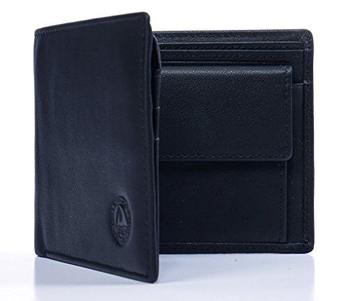 VEROLAGO Classic Trifold cp - Premium Herren Portemonnaie Geldbörse mit Münzfach und RFID BLOCKER - Eleganter Geldbeutel aus durchgefärbtem Leder (Classic Wallet Schwarze)