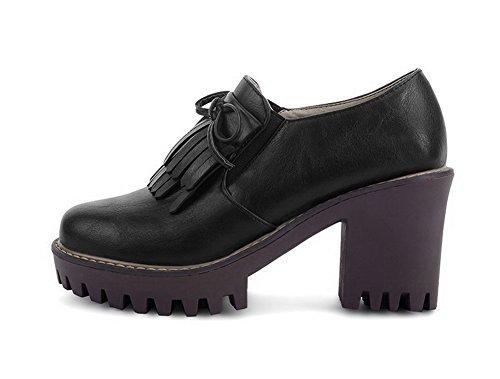 VogueZone009 Femme à Talon Haut Matière Souple Couleur Unie Chaussures Légeres Noir