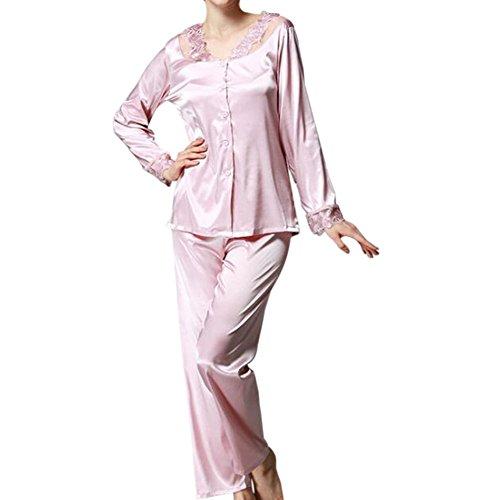 Mädchen-seiden-pyjama (Zhuhaixmy Frauen 2 Stück Satin Seide Schlafanzüge Komfortabel Lange Ärmel Mädchen Taste Pyjama-Set Nacht Kleidung Lose Loungewear Spitzenkante Nachtwäsche)