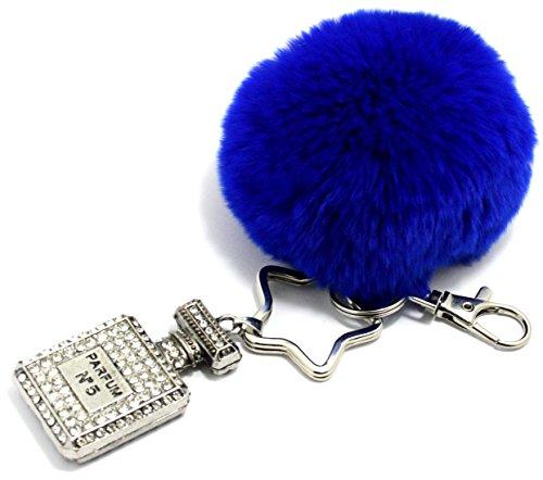 2LIVEfor Schlüsselanhänger Plüsch Pelz Fell Echt Ball Schlüsselanhänger Glitzer Weich Plüsch Bunt Handtaschenanhänger Taschenanhänger Strass Kugel Ornament Keychain Pompon Schlüsselring Silber Schlüsselring Stern Sternform (Blau) Blaue Kugel Ornamente