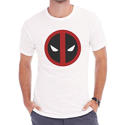 Deadpool Symbol Easy Face Red Strap On Herren T-Shirt Weiß