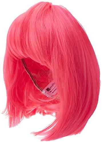 Smiffys 42140 Perücke Glamour Bob, Mittellang, Glatt mit Pony, Pink