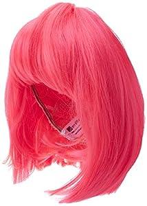 Smiffys-42140 Miffy Peluca glamurosa, Rosa neón, Corta, despuntada con Flequillo, Color, Tamaño único (Smiffy