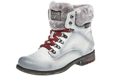 Mustang Damen Stiefeletten gefüttert Weiß/Grau, Schuhgröße:EUR 45