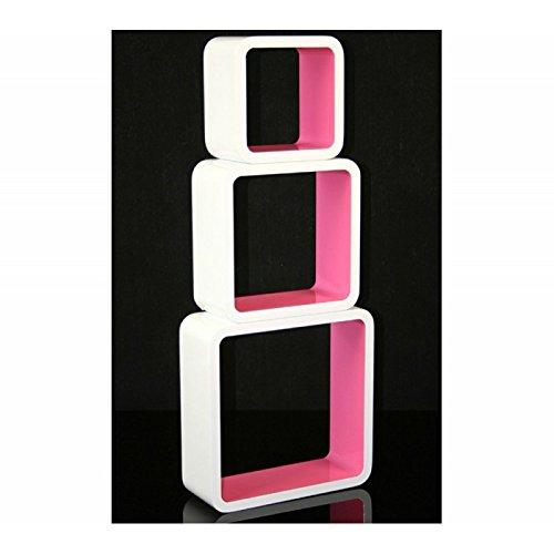 3 étagères cubes murales en MDF blanc-rose rangement ETA06056