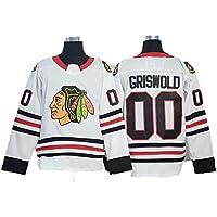 Yajun Griswold #00 Chicago Blackhawks Camisetas Hockey Jersey sobre Hielo NHL Hombre Ropa Mujer T-Shirt de Manga Larga,White,Men-XL