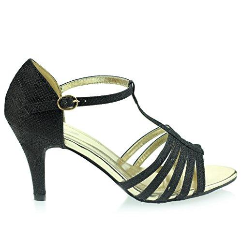 Femmes Dames Orteil Ouvert doigt T Barre Svelte Talon moyen Soirée Mariage Bal de Promo Sandale Chaussures Taille Noir