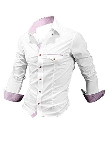 Allegra K Herren Spitzer Kragen Knöpfe Langärmelig Kariert Detail Slim Fit Hemden Weiß