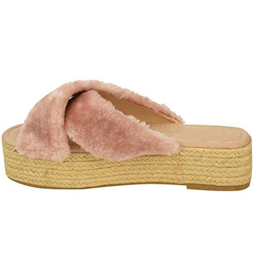 Claquettes à semelles plateforme - brides en fourrure/style espadrille - femme Fausse fourrure rose pastel