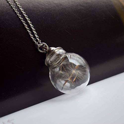 Löwenzahn Wunsch Echte Blume Zu öffnen Schraubverschluss Zylinder Glas Kugel 925 Sterling Silber Halsketten mit Anhänger