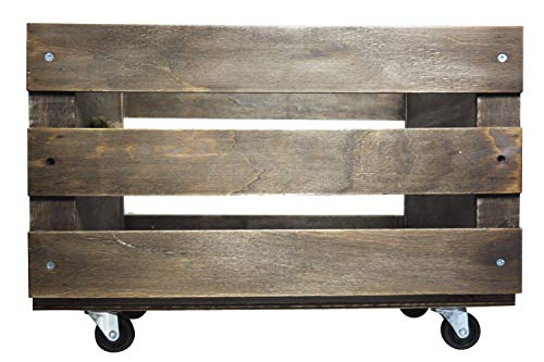 Wooden LP Record Storage Crate on Wheels for up to 100 albums, by Retro Musique