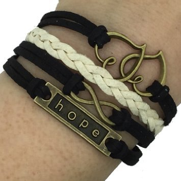 (B18) Vintage Handmade Infinity 8 Fare doppio Hope Heart del cuoio del Wristband del braccialetto compresa confezione regalo da Boolavard TM