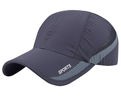 Aieoe Atmungsaktive Kappe Schnelltrocknend Cap Dünn und Weich Sport Caps Outdoor Sonnen-Kappe für Wandern, Bergsteigen, Joggen, Radfahren usw - Dunkelgrau