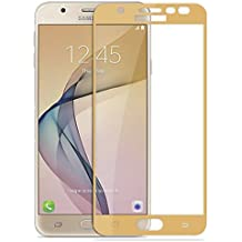 CareFone Samsung Galaxy J7 Prime Tempered Glass, Screen To Screen Fit Full Tempered Glass, 2.5D Curved Glass (Gold Edges)