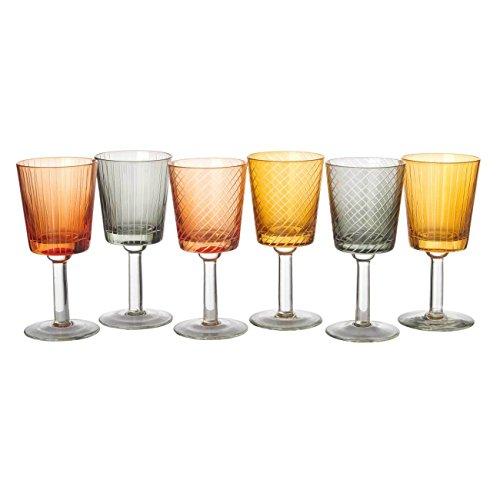 Pols Potten Weingläserset mit Schliff Library - 6er Set - 3 verschiedene Farben, 2 verschiedene...