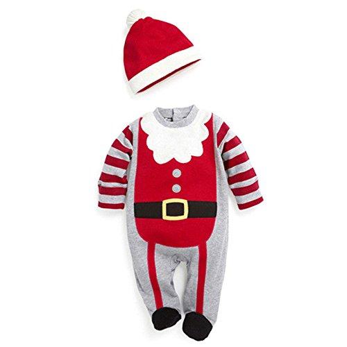 Weihnachten Boys Girls Baby Baby Strampler Kleidung Hut Kostüm Outfits Weihnachten Unisex, Jungen: 0-6 Monate DHY