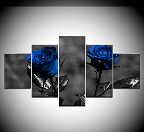 zmnba Kein Rahmen Poster Modular Pictures Canvas 5 Pieces Blue Roses Flowers Paintings Modern Art D Decor for Living Room Wall Home Hd Prints
