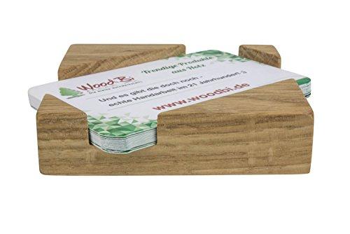 WoodBi | Hochwertige Visitenkartenbox aus Akazienbaum | Visitenkartenhalter aus Holz | Visitenkartenständer