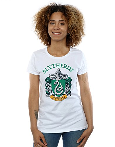 Harry Potter Damen Slytherin Crest T-Shirt Weiß Small