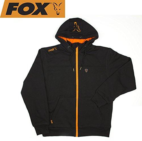 Fox Black / Orange Heavy Lined Hoodie Jacke Kapuzenpullover, Pullover mit Kapuze, Angelpullover, Anglerpullover schwarz/orange, Angeljacke mit Kapuze, Größe:M