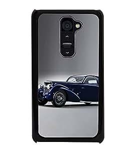 PrintVisa Designer Back Case Cover for LG G2 :: LG G2 Dual D800 D802 D801 D802TA D803 VS980 LS980 (Vintage Blue Royal Car )