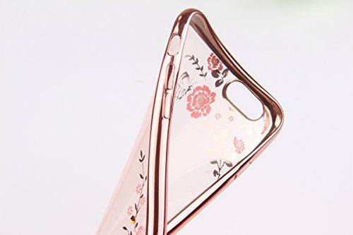 Apple iphone 6 Plus/6s Plus (5,5 pouces) Coque en Soft Silicone TPU Transparente, Ekakashop Créatif Dégradé de couleur Motif de Série Fleur Flexible Souple Gel Housse Etui Cas de Protection pour iphon Or Rose Fleurs roses